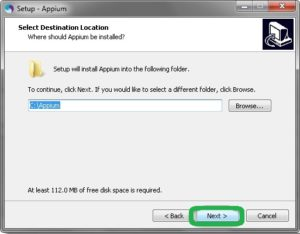 appium default location of installation